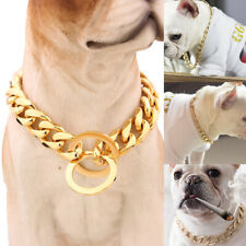 12-22'' Pet Dog Collar Choker Gold Stainless Steel Chain Necklace Training Link
