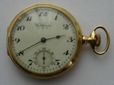 GOOD 18CT SOLID GOLD, AMERICAN WALTHAM RIVERSIDE MAXIMUS POCKET WATCH 23 JEWELS