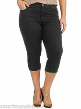 New Ladies Faded Glory Black Crop Jeans Tummy Control Trouser Capri Size 22-24