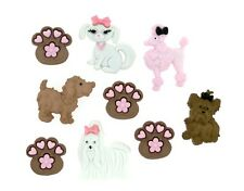 Scruffy Puppies Poodle Dog Paws Novelty Buttons Jesse James Theme Pack