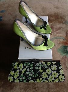 PLANET LIME SATIN PEEP TOE SHOES SIZE 4 WITH MATCHING FLORAL CLUTCH BAG
