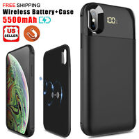 For iPhone XS Max Qi Wireless Charging Battery Charger Case Power Bank Slim Case