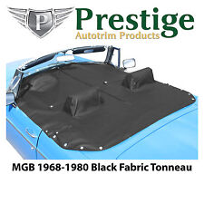 MGB Tonneau Cover Black Fabric Canvas with Headrest Pockets 1968-1980