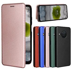 For Nokia X10 X20 G50 C30 Magnetic Carbon Fiber Flip Leather Wallet phone Case