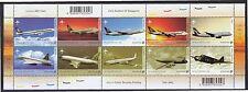 SINGAPORE 2003 AIRCRAFT CIVIL AVAITION OF S'PORE SOUVENIR SHEET 10 STAMPS MINT