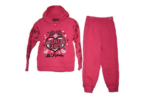 Girls Pink 2 Piece Hoodie Tracksuit 1-6 Years NEW