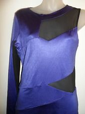 bebe Kardashians M Dress Bright Violet Purple Black Mesh Cutout One Shoulder