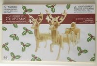 New 3D Wooden Santa and Sleigh Reindeer Puzzle Childrens Kids NIP Christmas Wood