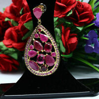 NATURAL RED RUBY & PINK SAPPHIRE PENDANT 925 STERLING SILVER