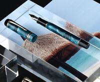 Moonman M600S Blue Acrylic Fountain Pen, Iridium Fine Nib Gift Writing Pen