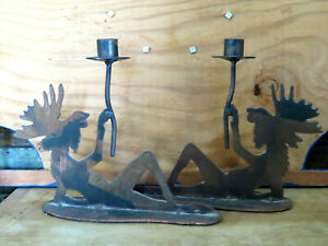 Set of 2 Moose Metal Candle Holders OOAK Cabin Décor Funny Rustic Lodge Large