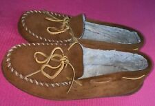 Minnetonka Brown Suede Faux Fur Lined Shoes Slippers Mens Size 10