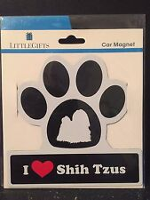 "Littlegifts Dog Breed Pawprint Car Magnet ""I Love Shih Tzus"" *NIP*"