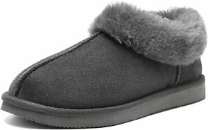 Women Suede Warm Fur Lined House Slippers Comfortable Furry Snow Boots
