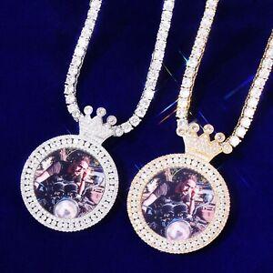 """Custom Photo Pendant 18"""" -30"""" Necklace Crown Tennis Rope Cuban Chain Hip Hop Men"""