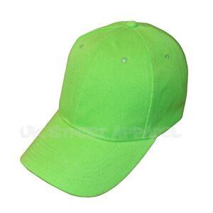 Plain Green Adjustable Unisex Baseball Cap Hat