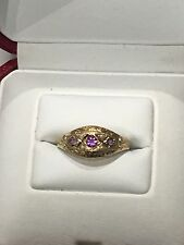 9ct Yellow Gold, Amethyst  & Pearl Ring. Size N. U.S. Size 7