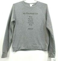 Project Social T Womens My Christmas List Lounge Sweatshirt Grey Long Sleeves M