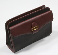 ALFRED DUNHILL Dark Brown Leather Canvas Zippered Organizer Carry Pouch
