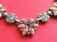BRIGHTON Colorful Flower Crystal  Silver Necklace   16'' - 18''