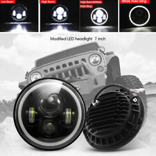 "7"" 200W LED Headlight Angel Eyes H4 H13 For Jeep Wrangler CJ JK LJ Hammer 2Pcs"