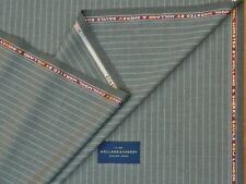 HOLLAND & SHERRY, SUPER 100s COOL WOOL MIX GREY FANCY STRIPE SUITING FABRIC 3.5M