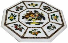 """15"""" White Marble Coffee Table Top Handmade Fruits Inlay Design Arts Decorative"""