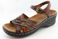Clarks Bendables Ankle Strap Brown Leather Women Shoes Size 5.5 Medium (B, M)