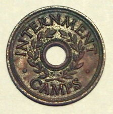 Internment Camp Token - WWII - Three Pence - good Very Fine Condition