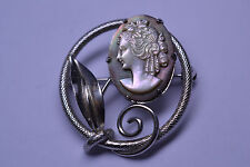Shell Cameo Pin w/ Leaf Detail Vintage Binder Brothers White Gold Filled Abalone