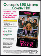 STRAIGHT TALK__Original 1992 Trade print AD / promo__DOLLY PARTON__JAMES WOODS