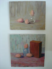 "Two Oil Paintings "" Brown Eggs  ""  Canvas Signed Farwell Original Art"