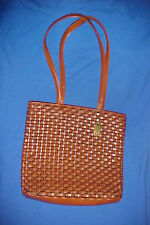 Tan Nine West Fettucine Weave Model Basket Weave Tote Shoulder Bag Faux Leather