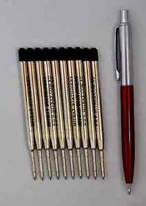 10 black refills 0.8mm point compatible with Parker pen + red barrel click pen