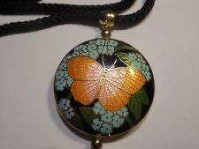 Hobe vintage 2 Sided Cloisonne enamel Butterfly NECKLACE Unused Old Orange Pink