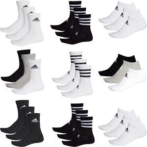 Adidas Mens Womens 3 Pairs Pack Socks Cushioned Crew No Show Ankle Quarter Sock