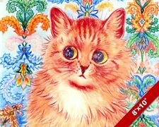 BIG EYE FUZZY KITTEN LOUIS WAIN PAINTING CUTE SOFT CAT ART REAL CANVAS PRINT