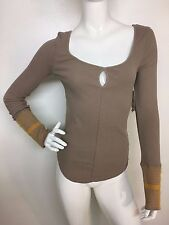 Free People New Woman Beige S Mod Stripe Cuff Thermal Knit Top T-shirt Tee NWT