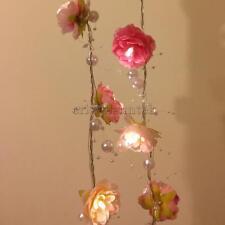 2m 20 LED Pink Rose Flower Fairy String Lights Wedding Garden Decor Lighting