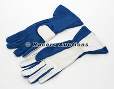 New SFI Double Layer Auto Racing Gloves Blue Size Large Dirt Drag Karting