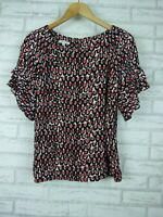 Guy Laroche Studio Top blouse Short flutter sleeves Sz 40 Black red, beige print