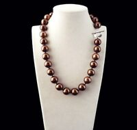 """Rare Natural 12mm Chocolate South Sea Shell Pearl Heart Clasp Necklace 18"""" JN142"""