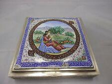 wunderschöne gr. emaillierte persische Dose Silber punziert 745g