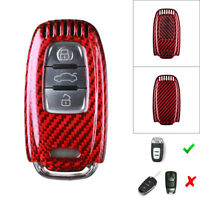 For Audi A3 A4 A5 A6 A7 A8  Carbon Fiber Remote Key Shell Cover Case Red Color