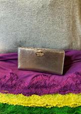 Kate Spade Metallic Silver Leather Snap Organizer Credit Card Wallet Clutch