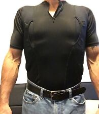 SALE Large - SS- MEN'S BLACK CONCEAL CARRY HOLSTER SHIRT w/ 7inch Zipper