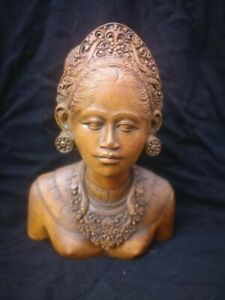 Vintage hand carved solid wood bust of an Asian lady sculpture