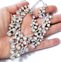 Choker Statement Necklace Earring Set Rhinestone Crystal AB
