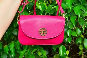 NWT Tory Burch Robinson Raspberry Pink Leather Crossbody Purse Bag