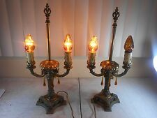 2 Antique Bronze Brass Two Arm Candelabra Electric Table Lamps Cloth Cord/Prisms